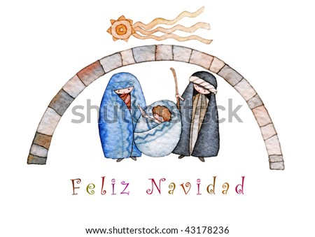illustration for Christmas whit manger end star comet with caption in Spanish - stock photo