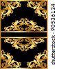 illustration frame background with gold pattern on black - stock vector