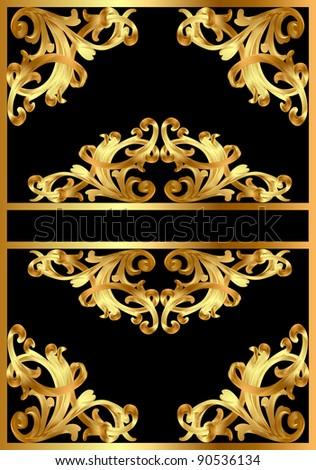 illustration frame background with gold pattern on black - stock photo