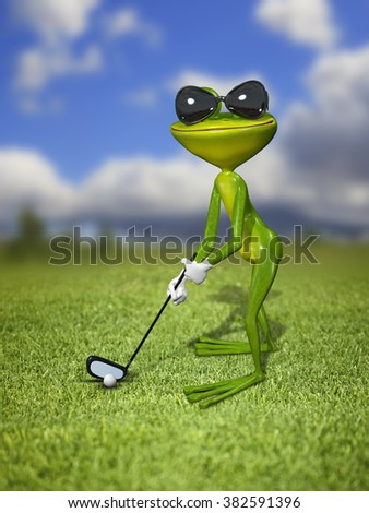 Illustration frog golfer on a green lawn - stock photo