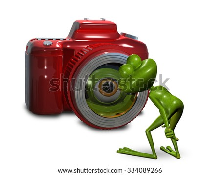 Illustration frog in front of the camera - stock photo