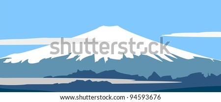 Illustration - Fujiyama - symbol of Japan.  Panorama: mountain landscape on background of sky and clouds - stock photo