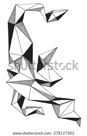 illustration geometrical decorative structure volumetric simple drawing F triangles
