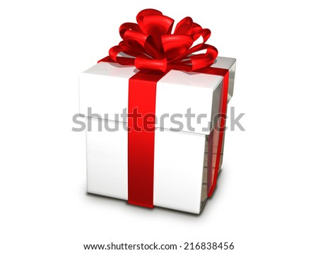 illustration gift box by bandaged a tape - stock photo