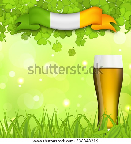 Illustration glowing nature background with glass of beer, clovers, grass and Irish flag for St. Patrick's Day - raster - stock photo