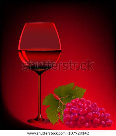 illustration goblet blame and branch of grape - stock photo