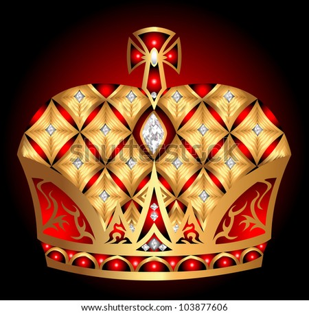 illustration gold(en) royal crown insulated on black background - stock photo
