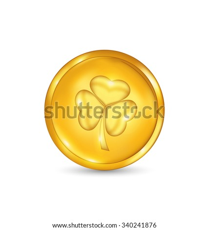 Illustration golden coin with three leaves clover. St. Patrick's day symbol - raster - stock photo