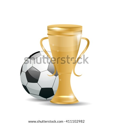Illustration Golden Cup with Football Ball. Objects Isolated on White Background - raster - stock photo