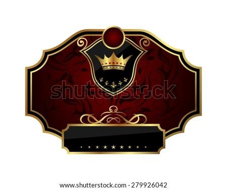 Illustration golden frame label with crown - raster - stock photo