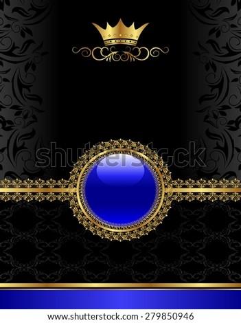 Illustration golden vintage frame with floral medallion - raster - stock photo
