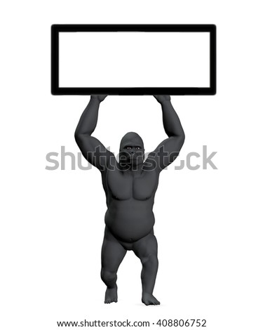 Illustration gorilla holding up sign with copy space, copyspace blank, 3D illustration - stock photo