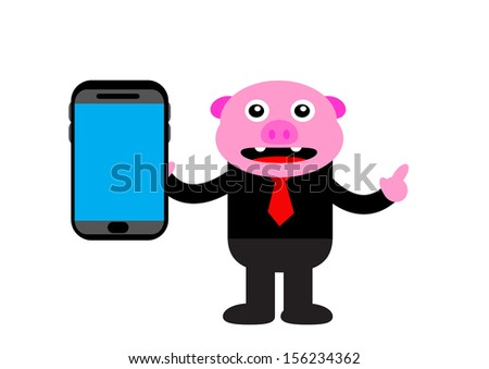 illustration graphic cartoon character clip art of pig