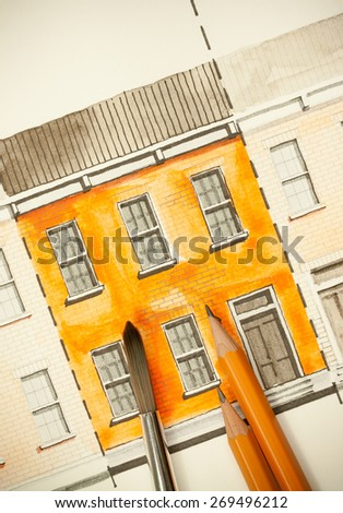 Illustration graphic material with orange shared twin elevation facade fragment with brick wall texture tiling shot with brush and pencils, symbolizing artistic custom approach to building design - stock photo