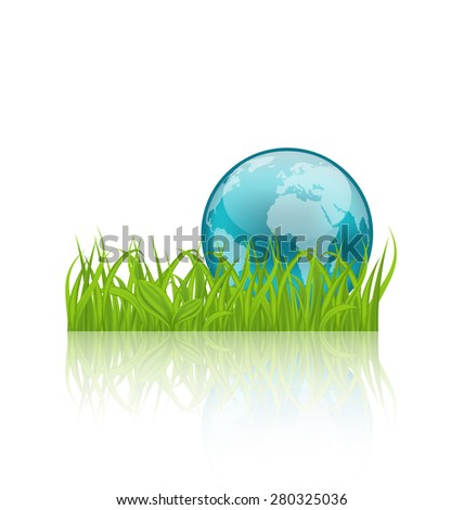 Illustration green concept ecology background with grass and earth - raster - stock photo