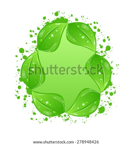 Illustration green eco leaves label isolated on white background - raster - stock photo