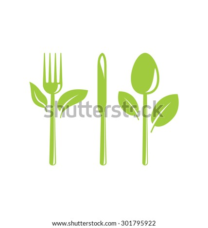 Illustration Green Healthy Food Icon with Cutlery and Leaves - raster
