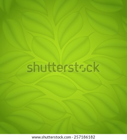 Illustration green leaves texture, eco friendly background - raster - stock photo