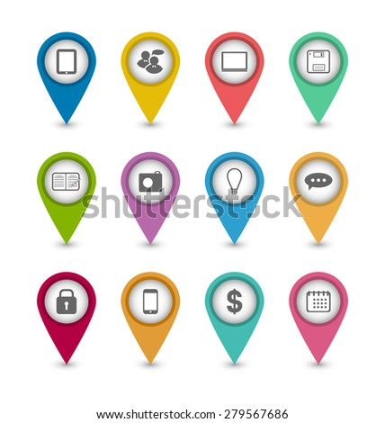 Illustration group business pictogram icons for design your website - raster - stock photo