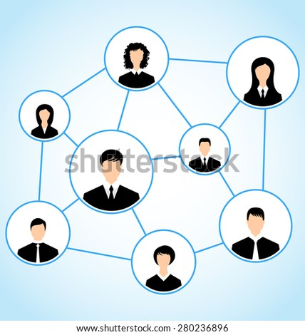 Illustration group of business people, social relationship - raster