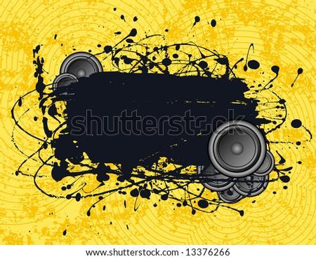 illustration - grunge text frame on grunge audio background - stock photo