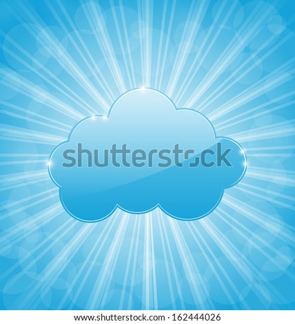Illustration grungy frame with cloud isolated on white background - raster