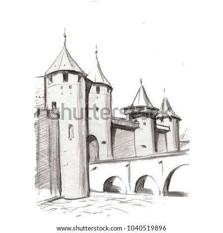 Illustration Hand Pencil Drawing Landscape Architecture Nature Building Historical Castle Town Gothic Bridge Old Ansient Composition