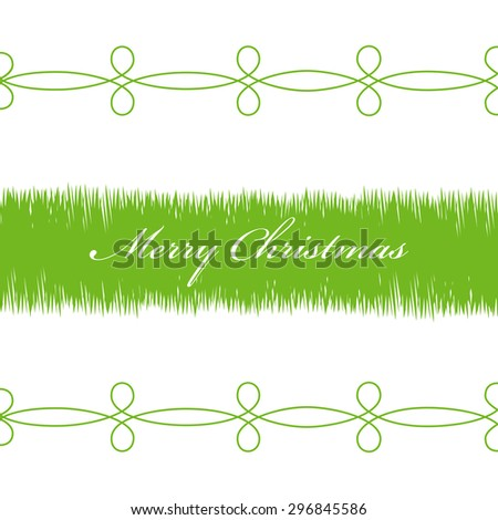 Illustration Happy Christmas, green branches on a white background. - stock photo
