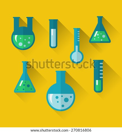 Illustration icons of chemical test tubes with shadows, modern flat style - raster - stock photo