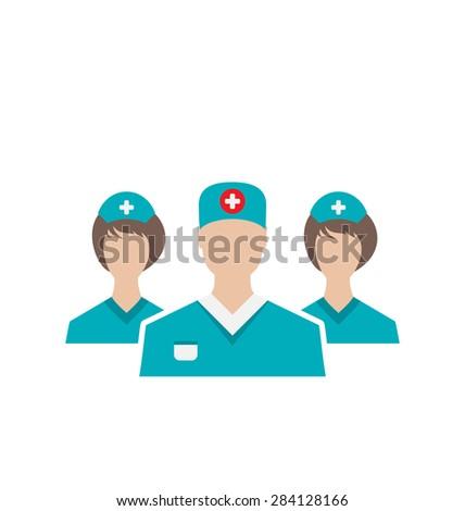 Illustration icons set of medical employees in modern flat design style, isolated on white background - raster - stock photo