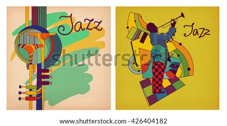 Illustration Jazz on kraft paper. Trumpet, saxophone, abstract illustration for the album cover, posters, corporate identity. Great picture for a musical group. Inscription by hand.