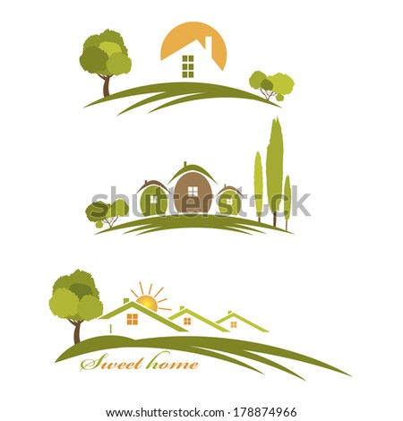 Illustration landscape with houses and trees - stock photo