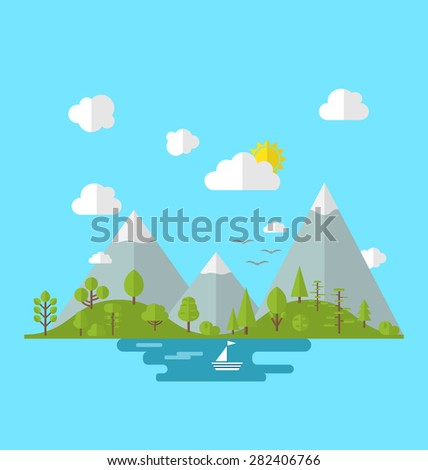 Illustration landscape woods valley hill forest land, nature background in flat style -  raster - stock photo