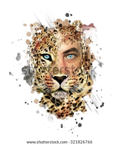 illustration leopard/T-shirt graphics/abstract watercolor like leopard/leopard graphics on a white background/wild leopard hunting/leopard print on canvas/mutant animal/sexy man and leopard/sticker - stock photo