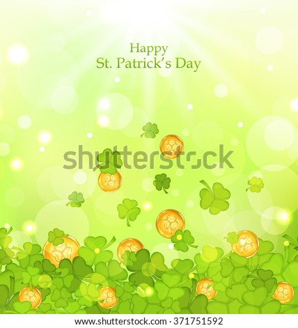 Illustration light background with clovers and coins for St. Patrick's Day - raster - stock photo