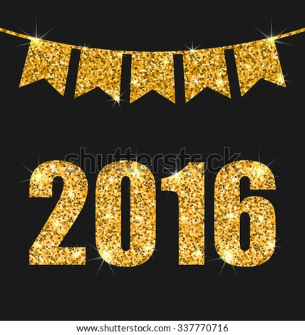 Illustration Light Background with Golden Dust and Pennants for Happy New Year 2016 - raster - stock photo