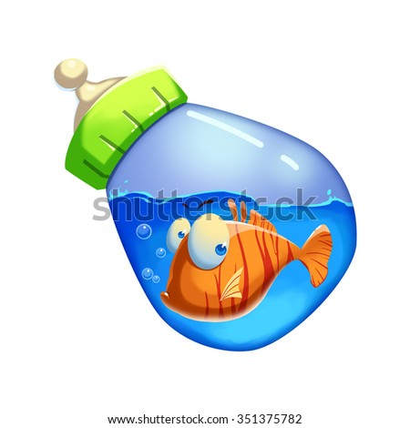 Illustration: Little Fish Swimming in the Milk Bottle. Realistic Fantastic Cartoon Style Artwork / Story / Scene / Wallpaper / Background / Card Design