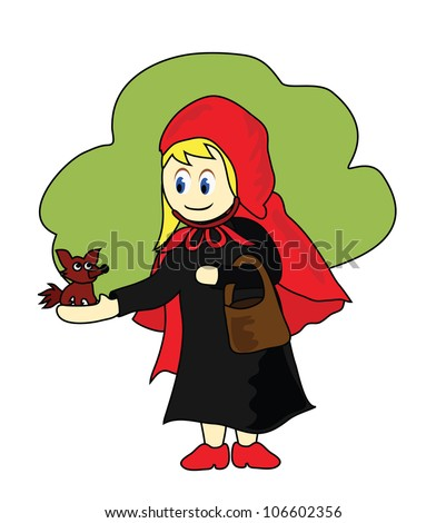 Illustration - Little Red Riding Hood and the little wolf. - stock photo