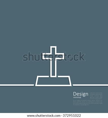 Illustration logo of gravestone in minimal flat style line - raster - stock photo