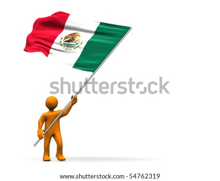 Illustration looks a fan with a big flag of Mexico.