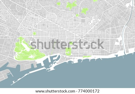 Illustration Map City Barcelona Spain Catalonia Stock Illustration