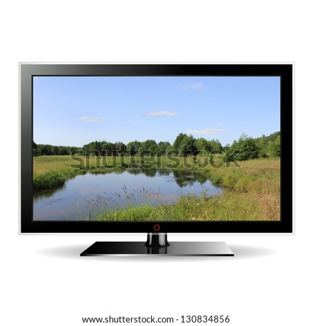 illustration modern LCD monitor isolated on white with landscape in the screen - stock photo
