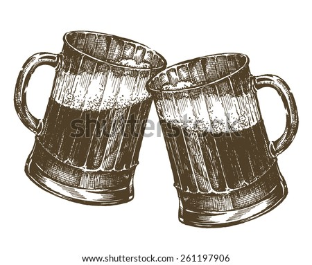illustration. mug of beer on a white background. sketch - stock photo