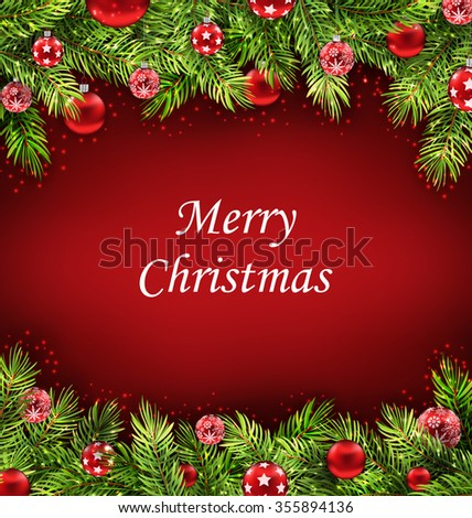 Illustration Natural Christmas Artwork with Fir Twigs and Glass Balls, Holiday Wallpaper - raster - stock photo