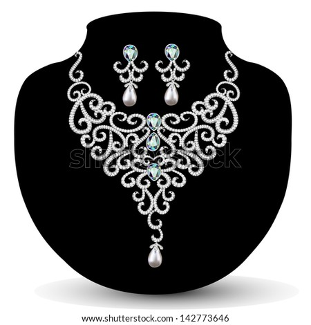 illustration necklace and earrings, wedding womens diamond - stock photo