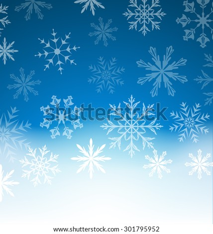 Illustration New Year blue background with snowflakes and copy space for your text - raster - stock photo