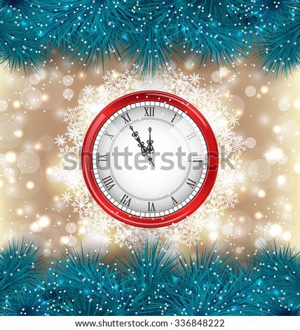 Illustration New Year Midnight Background with Clock and Fir Twigs - raster - stock photo