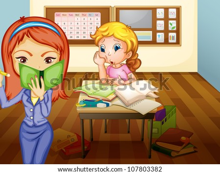 illustration of a  a girl and teacher in classroom in classroom - stock photo