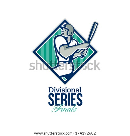 Illustration of a american baseball player batter hitter batting set inside diamond shape with stars and stripes done in retro style with words Divisional Series Finals. - stock photo