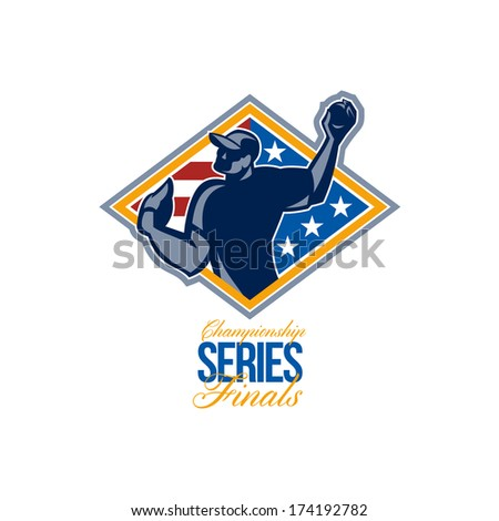 Illustration of a american baseball player outfilelder throwing ball  with words Championship Series Finals. - stock photo